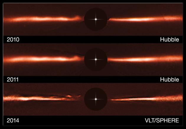 L'immense disque de poussières qui entoure l'étoile naine rouge AU Microscopii mesure environ 50 milliards de kilomètres. Pour observer le disque, les astronomes masquent l'étoile au foyer de leurs instruments, ici, en haut, le télescope spatial Hubble, en bas, le Very Large Telescope européen. L'image prise par le VLT et son optique adaptative est environ deux fois plus nette que celle obtenue avec le télescope spatial. Les astronomes disent que la résolution du télescope de 8 mètres de diamètre, à la longueur d'onde observée – 1,25 micromètre – avoisine 0,3 seconde d'arc, ce qui, à la distance de l'étoile, 32 années-lumière, correspond à des détails de moins de 500 millions de kilomètres... Photos Nasa/ESA/STSCI/ESO.