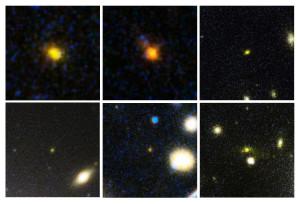Ces infimes taches lumineuses sont les plus lointaines galaxies connues dans l'Univers. 250 galaxies en tout, exhibant des décalages spectraux de 6 à 8 ont été trouvées dans les amas MACS J0717,5+3745, MACS J0416,1-2403 et Abell 2744. Ces galaxies sont éloignées de plus de treize milliards d'années-lumière. Photo Nasa/ESA/STSCI.