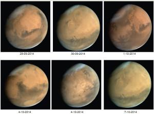 Cette série d'images a été prise par la sonde indienne Mars Orbiter Mission, en orbite martienne depuis un an. Photos ISRO.