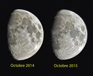 Ces deux images prises à un an d'intervalle montrent l'effet de libration lunaire: en théorie, comme la période de révolution et la période de rotation de la Lune sont synchrones, la Lune devait présenter la même face à la Terre. Ce n'est pas tout à fait vrai: comme la Lune ne tourne par sur une orbite circulaire autour de la Terre, un léger effet de perspective nous donne à voir plus que la moitié du disque lunaire. 59 % de la surface lunaire sont visibles depuis la Terre.