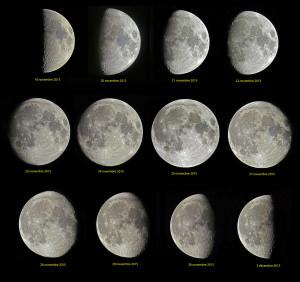 Voici les phases de la Lune, telle qu'elles se présenteront entre les Premier et Dernier Quartiers, entre le 18 novembre et le 3 décembre. Avant le Premier Quartier, la Lune en croissant, du 14 au 17 novembre, offrira au crépuscule un spectacle magnifique. Du fait du phénomène de libration, ce léger balancement de la Lune qui nous permet d'observer des régions situées au delà de son disque apparent moyen, le satellite de la Terre ne se présentera pas exactement comme sur ces images, prises en septembre et octobre 2015. Photos Serge Brunier.