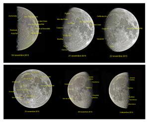 C'est au terminateur, cette ligne qui sépare le jour et la nuit, que les reliefs lunaires sont les plus spectaculaires. Au fil des nuits, il est possible de suivre le lever de Soleil sur un cratère, une montagne. Les formations identifiées sur ces images sont visibles dans une paire de jumelles, une simple longue-vue ou une petite lunette astronomique.