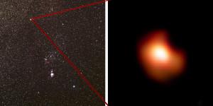 Bételgeuse est une étoile supergéante rouge, située à 470 années-lumière de distance. Elle est parfaitement visible à l'œil nu, très brillante et colorée, dans la belle constellation d'Orion. Environ 15 fois plus massive que le Soleil, elle brille 70 000 fois plus que lui. Photos S.Brunier/ESO.