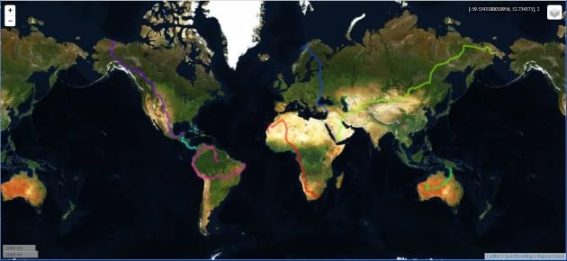 Les plus longs trajets par continent (INRIA/OpenStreetMap).