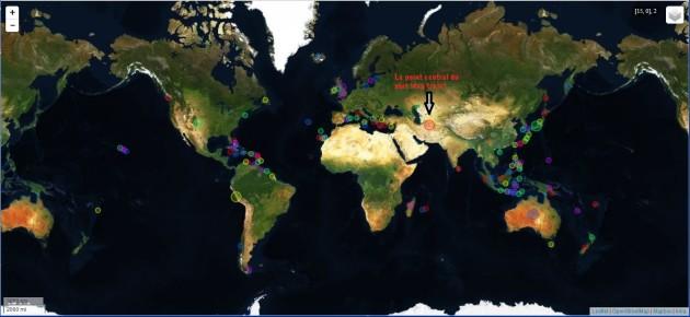 Le point central du plus long trajet (et quelques autres). INRIA/OpenStreetMap.