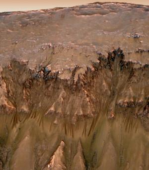"""Les """"Recurring slope linae"""" ou RSL, plus discrètes que les """"gullies"""" sous l'oeil du satellite américain MRO, seraient bien des coulées de boue, contenant de l'eau très salée, de la saumure. Cette eau serait captée directement dans l'atmosphère de Mars par le sol saturé de sels. Photo Nasa."""