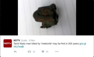 Photo de la supposée météorite selon NDTV (Twiter : @ndtv)