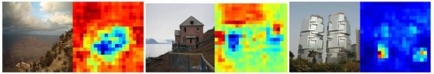 Représentation du calcul de probabilités du logiciel : en bleu, le maximum de correspondance entre l'image et une localisation calculée par le logiciel, en rouge les éléments de l'image que le logiciel ne reconnaît pas comme appartenant à la localisation calculée (minimum de probabilité). Grand Canyon, Norvège, Shangaï (T. Weyand et al., Google).