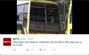 Photo des dégâts sur les bus du Collège selon NDTV (Twitter : @ndtv)