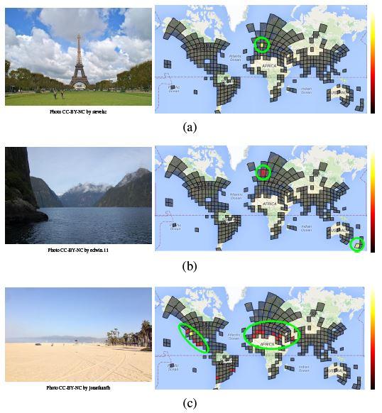 Le type de photo présenté au logiciel (gauche) et la localisation probable trouvée par celui-ci (droite). Pour la tour Eiffel, aucun doute possible, pour le paysage de crique, deux lieux possibles, pour la photo de plage, des dizaines d'origines possibles (Tobias Weyand et al., Google)