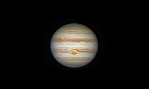 La planète Jupiter, photographiée avec un télescope d'amateur de 300 mm de diamètre, le 25 février 2016. Photo J.Y.