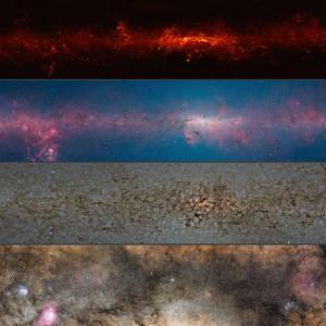 Ce montage montre le centre de notre galaxie, dans les constellations du Sagittaire et du Scorpion, vu dans divers domaines de longueur d'onde. En haut, Apex, à 870 micromètres, dans le domaine millimétrique, puis en infrarouge, avec le satellite Spitzer, entre 3,6 et 8 micromètres, puis par le télescope infrarouge Vista, entre 1,2 et 2,2 micromètres et enfin, dans le domaine de la lumière visible, entre 0,4 et 0,8 micromètres de longueur d'onde. Photos ESO/Nasa/ESA/S.Guisard.