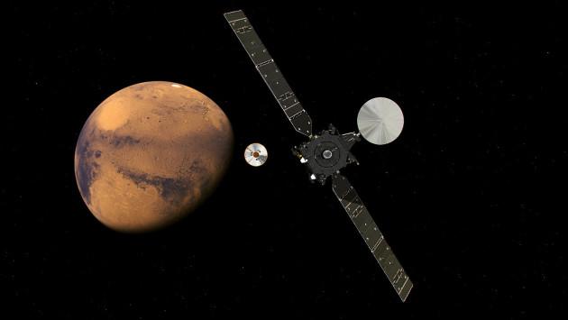 Le 16 octobre 2016, le module Schiaparelli se séparera de TGO (Trace Gaz Orbiter), la mission Exomars pourra commencer... Illustration ESA.