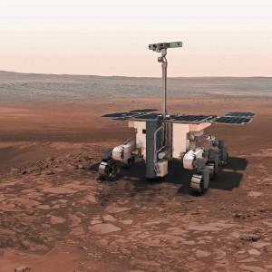 Le rover Exomars 2018 n'a pas encore été baptisé par l'ESA. Cette suite et fin du programme Exomars est prévue pour 2018, mais il n'est pas sûr que les agences russe et européenne parviennent à respecter cet agenda. Si l'ESA et Roscosmos manquent la fenêtre de 2018, le lancement du rover sera repoussé en 2020. Illustration ESA.