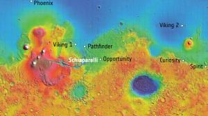 A ce jour, sept sondes, toutes américaines, se sont posées avec succès sur la planète rouge. Schiaparelli va tenter de réussir cet exploit pour le compte des ingénieurs et chercheurs européens. Photo ESA.
