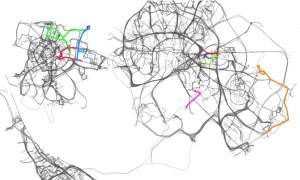 Des chercheurs ont suivi pendant 18 mois les déplacements de 526 voitures dans quatre grandes villes européennes (Credit: A. Lima et al. J.R. Soc., 2016)