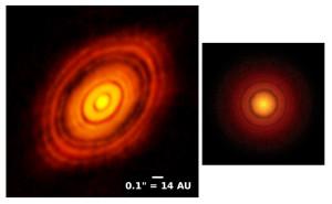 Le disque de matière qui entoure TW Hydrae ressemble à celui de l'étoile HL Tauri, que Alma a photographié en 2014. Sur ce montage, les deux disques protoplanétaires, situées à des distances différentes, sont présentés à la même échelle. Photos ESO/NRAO/NAOJ.