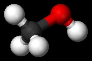 Une molécule de méthanol (même code couleur). DP