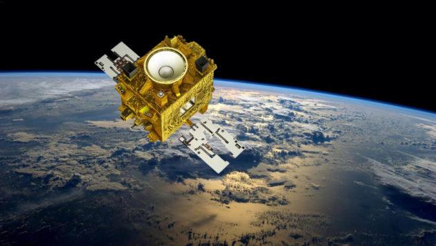 Une fusée Soyouz doit lancer ce samedi 23 avril le satellite Microscope dans l'espace. Mis en orbite à 700 kilomètres d'altitude, cette expérience de physique fondamentale doit vérifier la validité du principe d'équivalence, l'un des fondements de la théorie de la relativité générale. Illustration CNES et Nasa.