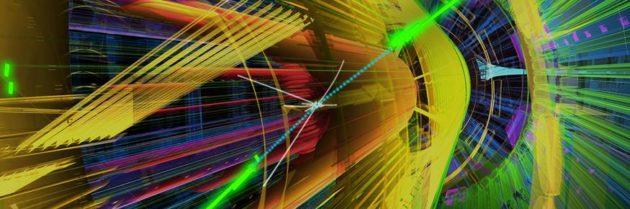 Vue stylisée d'une désintégration engendrant deux photons (en vert), dans le détecteur ATLAS (crédit : Cern)
