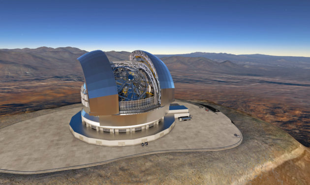 Le E-ELT (European Extremely Large Telescope) promet d'être, en 2024, le plus grand télescope optique et infrarouge de la planète. La coupole du télescope mesurera 90 m de hauteur, et abritera le télescope de 39 mètres de diamètre. Document ESO.