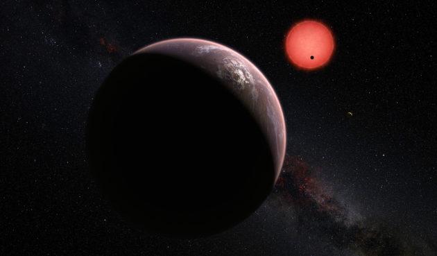 Trois planètes ont été découvertes autour d'une étoile naine rouge située à 40 années-lumière de la Terre. Très proches de leur étoile, elles sont invisibles, et le demeureront probablement pendant des décennies. Seules des mesures indirectes permettent aujourd'hui de tenter d'imaginer à quoi elles ressemblent. Illustration ESO.