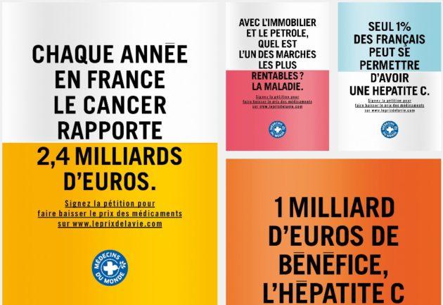 """Les affiches de la campagne de Médecins du monde sur les prix des médicaments, """"Le prix d'une vie""""."""