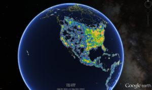 Zoom sur l'Amérique du nord - Crédit : Fabio Falchi et al.