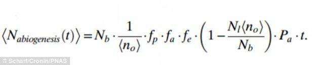 Formule établie par les deux chercheurs donnant la probabilité qu'une vie puisse émerger dans un certain contexte planétaire.