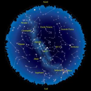 Le ciel du mois d'août 2016. L'Etoile polaire est facile à trouver, plein nord, et perpétuellement entourée des brillantes étoiles de la Grande Ourse.