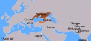 Zone occupée par les peuples de la culture Yamna au IVe millénaire av. J.-C. (Wikicommons CC BY-SA 3.0).