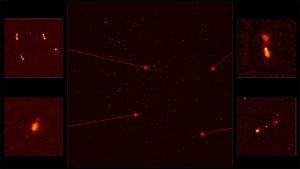 La première image du ciel prise par seulement 16 antennes du réseau Merkaat donne une petite idée du cosmos qu'explorera SKA lorsque 2000 antennes seront en service... L'image, prise à 21 centimètres de longueur d'onde, révèle de lointaines galaxies actives, certaines montrant des jets de plasma brûlant s'échappant de leurs trous noirs géants. Photo SKA.