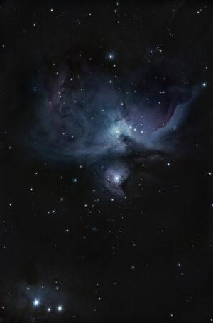 Cette photographie de la grande nébuleuse d'Orion a été prise en banlieue parisienne en janvier 2016. Télescope de 150 mm de diamètre et 1800 mm de focale, boîtier Nikon D4. 600 poses de quatre secondes ont été prises à 2500 ISO, le traitement de l'image a été réalisé avec le logiciel Iris par Frédéric Tapissier. Photo S.Brunier.