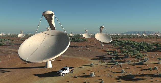 Le réseau SKA comptera à terme deux mille antennes de 13.5 mètres de diamètre. Meerkat compte 64 antennes, dont 16 viennent de produire leur toute première image. Illustration SKA.