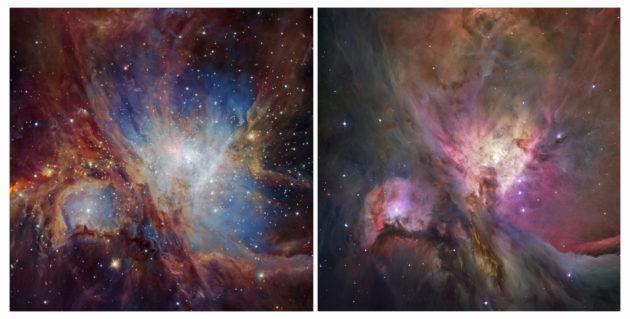 A gauche, la nébuleuse d'Orion vue en infrarouge par le VLT. A droite, la même nébuleuse vue par le télescope spatial Hubble dans le domaine visible. Photos ESO/Nasa/ESA.